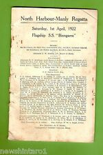 #D167.  1922 NORTH HARBOUR - MANLY  REGATTA PROGRAM