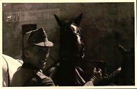 FOTO DEL 1939 - MILITARE REGIO ESERCITO ARTIGLIERIA CON CAVALLO  - NOVARA -