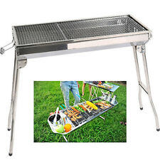 Tragbar BBQ Holzkohlegrill Klappgrill Standgrill Camping Grill Edelstahl Outdoor