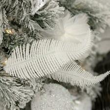Christmas Tree Decoration Clip on Feather Glittery Baubles Ornament UK