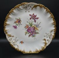 "Helena Wolfsohn Dresden German Hand Painted Flowers & Gold 13 1/4"" Charger"