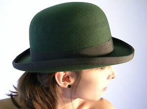 New Bowler Hat Olive Green English Gentleman's Wool Derby Sizes S M L XL