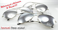 3 PAIR AVIATOR SUNGLASSES Mirror Lens Silver Chrome LOT
