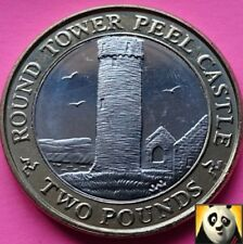 2011 Rare Key Date ISLE OF MAN 2 Two Pound Round Tower Peel Castle UNC Coin