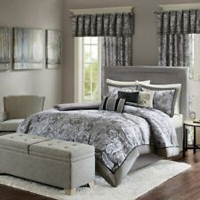 Madison Park 3-pc Quilt Set - Elsa Jacquard Charcoal Gray - KING/CK