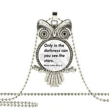 New OWL Cabochon Glass silver chain necklace pendant(Martin Luther King Jr quote
