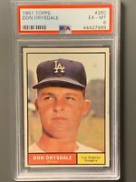 1961 Topps #260 Don Drysdale PSA 6 EXMT Los Angeles Dodgers HOF