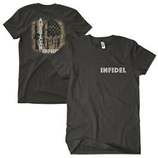 Black T-shirt American Infidel Two 2 Sided Print Fox Outdoor 63-6291