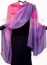 Hand Dyed Maya Matazaro Silk Chiffon Cape Ruana Caftan Wrap Magenta Purple Ombre