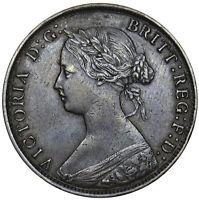 1862 HALFPENNY (2 OVER 2) - VICTORIA BRITISH BRONZE COIN - NICE