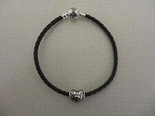 bracelet cuir noir +charm coeur vintage S925 ALE  + pochette Pandora