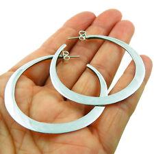 Hoops 925 Sterling Silver Polished Large Circle Hoop Earrings