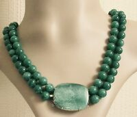 Vintage 9ct Yellow Gold Green Aventurine Multi Bead Necklace (19 inches).