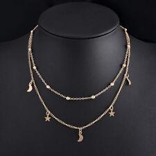Women Jewelry GF Pendant 925 Silver Gold Moon Choker Chunky Chain Bib Necklace