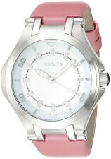 New Womens Invicta 21758 Wildflower Silver Dial Pink Leather Strap Watch