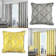 BROOKLYN Geometric Print Lined Ready Made Eyelet Top/Ring Top Curtains Pair