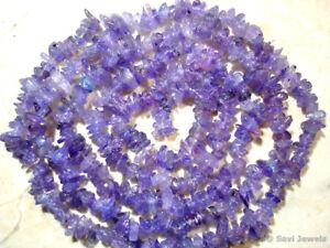 """Tanzanite 3mm-5mm Chips Gemstone Beads 9"""" strand"""