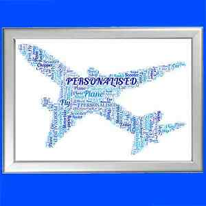 PLANE WORD ART Personalised Gift Present Brother Him Mens Boy Him Man Mens