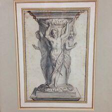 Fine Antique Old Master Style Sketch Of A Carved Column / Pedestal