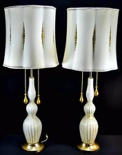 Vintage 1950u0027s Italian White And Gold 24kt Murano Glass Lamps Hollywood  Regency
