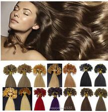"Remy Human Hair Extensions Keratin Pre Bonded Nail U Tip Gule 16""18""20""22""24""26"""