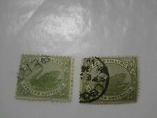 WESTERN AUSTRALIA 1s one shilling stamp green x 2 please see pictures