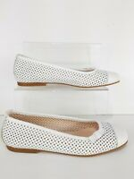Hobbs White Leather Cut Out Ballet Flats Shoes Size UK 3 Summer