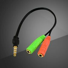 1X 3.5mm Male to 2 Female Y Splitter Earphone Headphone Audio Microphone Cable
