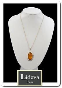 Set Chain + Pendant Necklace Amber Imitation Faux Amber Oval Medallion