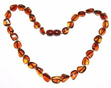 Genuine Baltic amber baby necklace, cherry leaves beads 33 cm /13 inch
