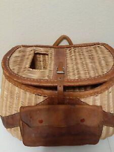 Large Vintage Creel Fishing Leather Wicker Basket with Ruler Handstitch