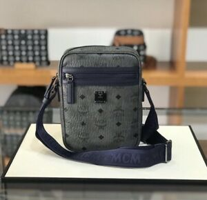 Authentic MCM Visetos Camera Bag, CrossBody Women Men NWT Blue/navy $575+ Tax