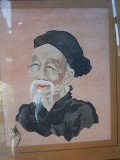 Portrait vieux sage asiatique a la barbe peinture sur soie signee 1950