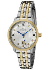 Rotary Womens White Swarovski Crystal Silver Textured Dial Two Tone Casual Watch