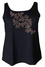 NWOT Susan Graver Butterknit Scoop Neck Tank Top Floral Bead Design Black 2X