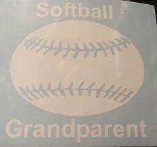 Sports Fastpitch Softball Grandparent Oracal Vinyl Decal Sticker  White