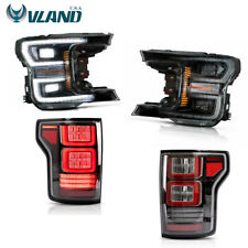 VLAND Fits Ford F150 F-150 2018-2019 Black LED Headlight + LED Tail Lights