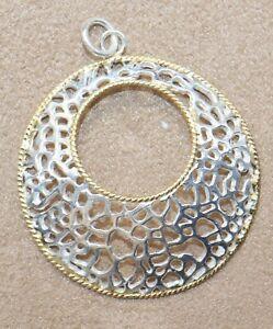925 sterling silver new design silver two-tone pendants women silver jewelry