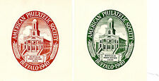 Vintage Poster Stamps AMERICAN PHILATELIC SOCIETY BUFFALO 1940 green & red label