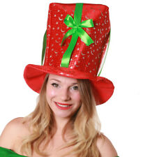 CHRISTMAS PRESENT HAT PLUSH GIFT WRAP RED FUNNY NOVELTY ADULTS XMAS FANCY DRESS