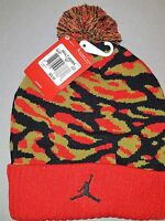 NIKE JORDAN CAMO POM BEANIE HAT RED GREEN BLACK STYLE 686937 687 NEW WITH TAGS
