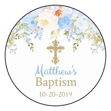 """12 Personalized Baptism Communion Stickers Favors Labels tags 2.5"""" blue gold"""