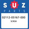 02112-05167-000 Suzuki Screw 0211205167000, New Genuine OEM Part