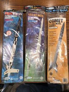 3 Estes Model Rockets: MaxiIcarus #1331; USS Atlantis 1283; Comet #1368