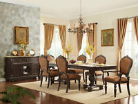Traditional Cherry Brown Dining Room - 7 piece Rectangular Table Chairs Set IC6Y