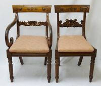 PAIR of ANTIQUE REGENCY MAHOGANY ARM & SIDE CHAIRS w/ CARVED SCROLLED BACK BAR