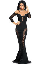 Black Mesh Sequin Long Dress Club Wear Fashion Evening Wear Size S M L