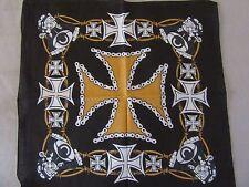 bandana croix de malte et moteur orange et noir, biker, flammes, moto, carré,