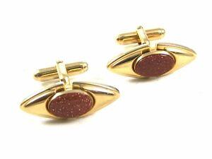 True Vintage 1950's - 1970's Goldtone Goldstone Cufflinks By ANSON 103114