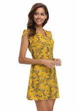 Women bohemian Summer Yellow Floral Print Petal Sleeves V-Neck crossover Dresses